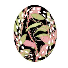 Pink and ocher ivy Ornament (Oval Filigree)