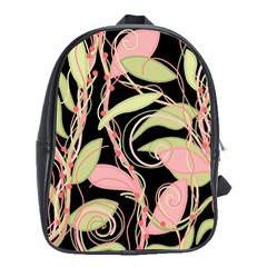 Pink and ocher ivy School Bags (XL)