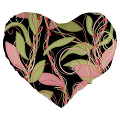 Pink and ocher ivy Large 19  Premium Heart Shape Cushions