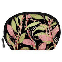 Pink and ocher ivy Accessory Pouches (Large)
