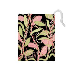 Pink and ocher ivy Drawstring Pouches (Medium)