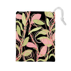 Pink and ocher ivy Drawstring Pouches (Large)
