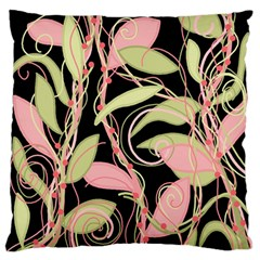 Pink and ocher ivy Large Flano Cushion Case (One Side)