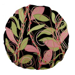 Pink and ocher ivy Large 18  Premium Flano Round Cushions