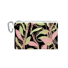 Pink and ocher ivy Canvas Cosmetic Bag (S)