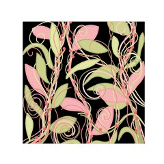 Pink and ocher ivy Small Satin Scarf (Square)