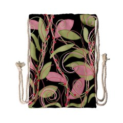 Pink and ocher ivy Drawstring Bag (Small)
