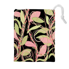 Pink and ocher ivy Drawstring Pouches (Extra Large)