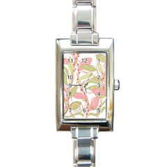 Pink and ocher ivy 2 Rectangle Italian Charm Watch