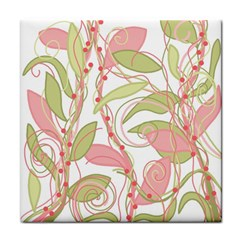 Pink and ocher ivy 2 Tile Coasters