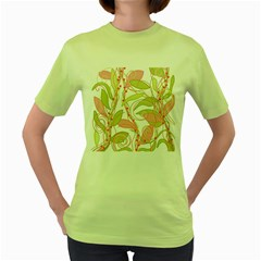 Pink and ocher ivy 2 Women s Green T-Shirt