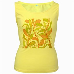 Pink and ocher ivy 2 Women s Yellow Tank Top
