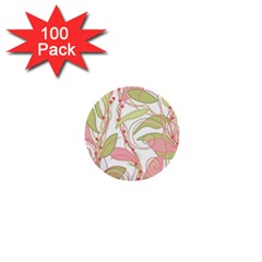 Pink and ocher ivy 2 1  Mini Buttons (100 pack)