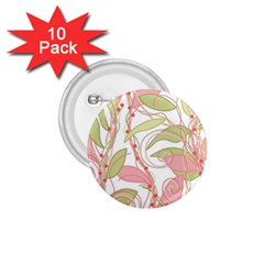Pink and ocher ivy 2 1.75  Buttons (10 pack)