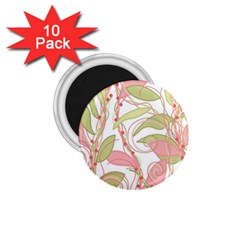Pink and ocher ivy 2 1.75  Magnets (10 pack)