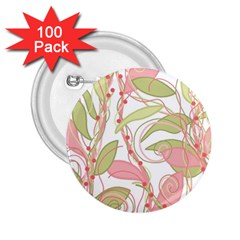 Pink and ocher ivy 2 2.25  Buttons (100 pack)