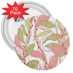 Pink and ocher ivy 2 3  Buttons (10 pack)