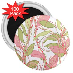 Pink and ocher ivy 2 3  Magnets (100 pack)