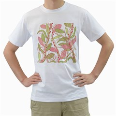 Pink and ocher ivy 2 Men s T-Shirt (White) (Two Sided)