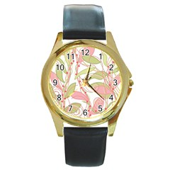 Pink and ocher ivy 2 Round Gold Metal Watch