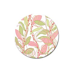 Pink and ocher ivy 2 Magnet 3  (Round)