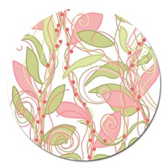 Pink and ocher ivy 2 Magnet 5  (Round)