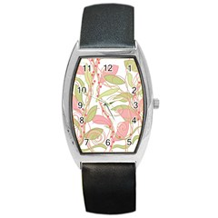 Pink and ocher ivy 2 Barrel Style Metal Watch
