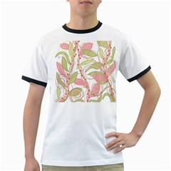 Pink and ocher ivy 2 Ringer T-Shirts