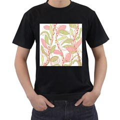Pink and ocher ivy 2 Men s T-Shirt (Black) (Two Sided)
