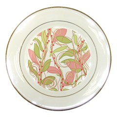 Pink and ocher ivy 2 Porcelain Plates