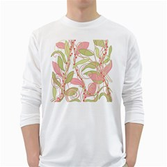 Pink and ocher ivy 2 White Long Sleeve T-Shirts