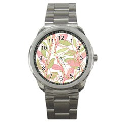 Pink and ocher ivy 2 Sport Metal Watch