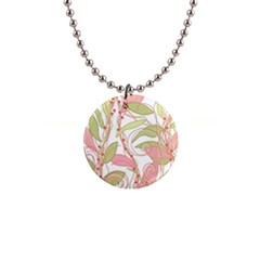 Pink and ocher ivy 2 Button Necklaces