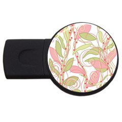 Pink and ocher ivy 2 USB Flash Drive Round (4 GB)