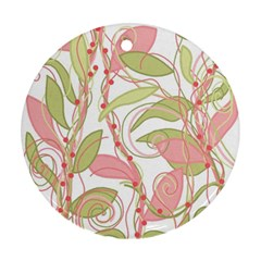 Pink and ocher ivy 2 Round Ornament (Two Sides)