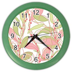 Pink and ocher ivy 2 Color Wall Clocks