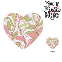 Pink and ocher ivy 2 Multi-purpose Cards (Heart)