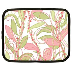 Pink and ocher ivy 2 Netbook Case (Large)