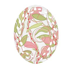 Pink and ocher ivy 2 Oval Filigree Ornament (2-Side)