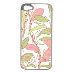 Pink and ocher ivy 2 Apple iPhone 5 Case (Silver)