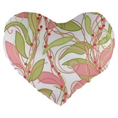 Pink and ocher ivy 2 Large 19  Premium Heart Shape Cushions