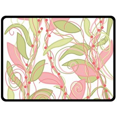 Pink and ocher ivy 2 Double Sided Fleece Blanket (Large)