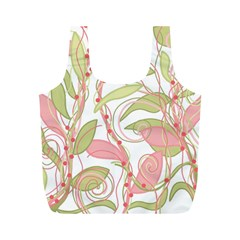 Pink and ocher ivy 2 Full Print Recycle Bags (M)
