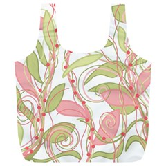 Pink and ocher ivy 2 Full Print Recycle Bags (L)