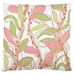 Pink and ocher ivy 2 Large Flano Cushion Case (One Side)