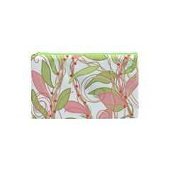 Pink and ocher ivy 2 Cosmetic Bag (XS)