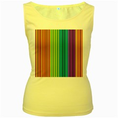 Colorful lines Women s Yellow Tank Top