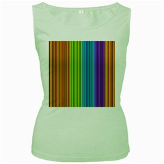 Colorful lines Women s Green Tank Top