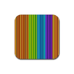 Colorful lines Rubber Square Coaster (4 pack)