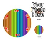 Colorful lines Playing Cards 54 (Round)  Front - Heart9